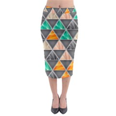 Abstract Geometric Triangle Shape Midi Pencil Skirt