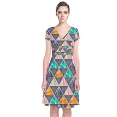Abstract Geometric Triangle Shape Short Sleeve Front Wrap Dress