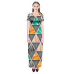 Abstract Geometric Triangle Shape Short Sleeve Maxi Dress