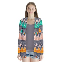Abstract Geometric Triangle Shape Cardigans