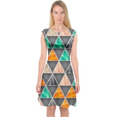 Abstract Geometric Triangle Shape Capsleeve Midi Dress
