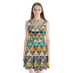 Abstract Geometric Triangle Shape Split Back Mini Dress