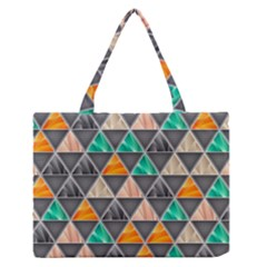 Abstract Geometric Triangle Shape Medium Zipper Tote Bag