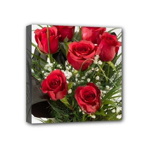 Red Roses Roses Red Flower Love Mini Canvas 4  x 4