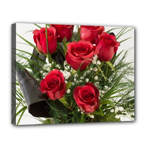 Red Roses Roses Red Flower Love Canvas 14  X 11