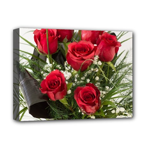 Red Roses Roses Red Flower Love Deluxe Canvas 16  x 12