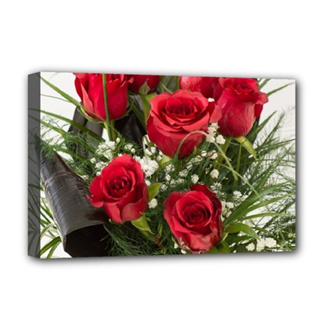 Red Roses Roses Red Flower Love Deluxe Canvas 18  x 12