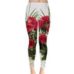Red Roses Roses Red Flower Love Leggings