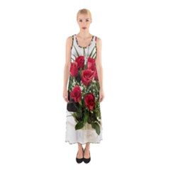 Red Roses Roses Red Flower Love Sleeveless Maxi Dress