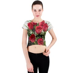 Red Roses Roses Red Flower Love Crew Neck Crop Top