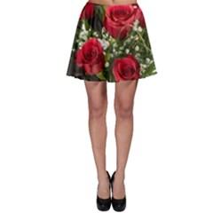 Red Roses Roses Red Flower Love Skater Skirt