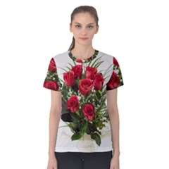 Red Roses Roses Red Flower Love Women s Cotton Tee