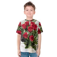 Red Roses Roses Red Flower Love Kids  Cotton Tee