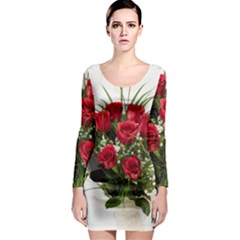 Red Roses Roses Red Flower Love Long Sleeve Bodycon Dress