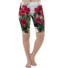 Red Roses Roses Red Flower Love Cropped Leggings