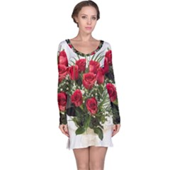 Red Roses Roses Red Flower Love Long Sleeve Nightdress