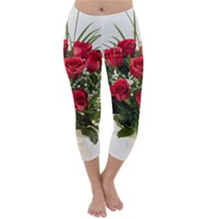 Red Roses Roses Red Flower Love Capri Winter Leggings