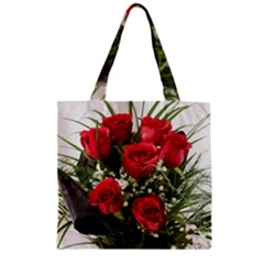 Red Roses Roses Red Flower Love Zipper Grocery Tote Bag