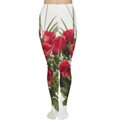 Red Roses Roses Red Flower Love Women s Tights