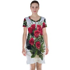 Red Roses Roses Red Flower Love Short Sleeve Nightdress