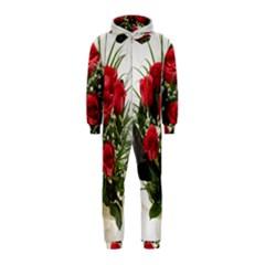 Red Roses Roses Red Flower Love Hooded Jumpsuit (kids)
