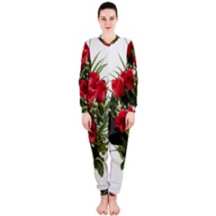 Red Roses Roses Red Flower Love Onepiece Jumpsuit (ladies)