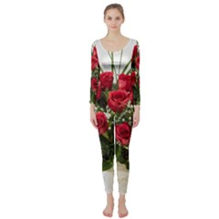 Red Roses Roses Red Flower Love Long Sleeve Catsuit