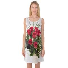 Red Roses Roses Red Flower Love Sleeveless Satin Nightdress
