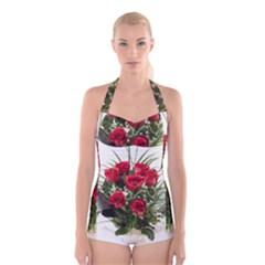 Red Roses Roses Red Flower Love Boyleg Halter Swimsuit