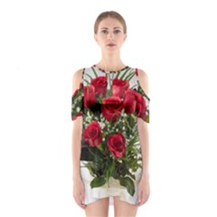 Red Roses Roses Red Flower Love Shoulder Cutout One Piece