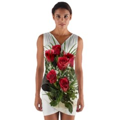Red Roses Roses Red Flower Love Wrap Front Bodycon Dress