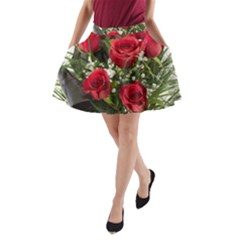 Red Roses Roses Red Flower Love A Line Pocket Skirt