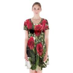 Red Roses Roses Red Flower Love Short Sleeve V Neck Flare Dress