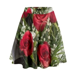 Red Roses Roses Red Flower Love High Waist Skirt