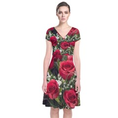 Red Roses Roses Red Flower Love Short Sleeve Front Wrap Dress