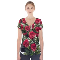 Red Roses Roses Red Flower Love Short Sleeve Front Detail Top