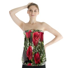 Red Roses Roses Red Flower Love Strapless Top