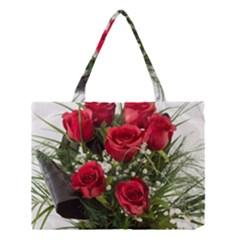 Red Roses Roses Red Flower Love Medium Tote Bag