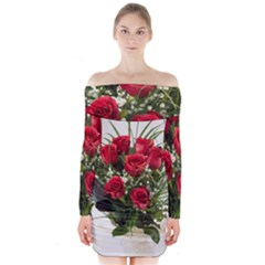 Red Roses Roses Red Flower Love Long Sleeve Off Shoulder Dress