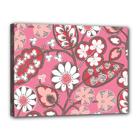 Flower Floral Red Blush Pink Canvas 16  x 12