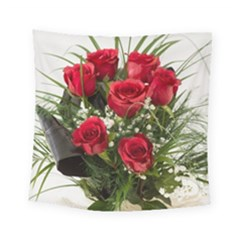 Red Roses Roses Red Flower Love Square Tapestry (small)