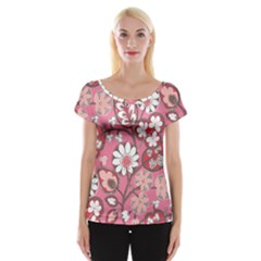 Flower Floral Red Blush Pink Women s Cap Sleeve Top