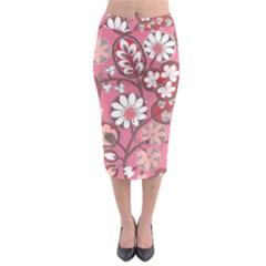 Flower Floral Red Blush Pink Midi Pencil Skirt