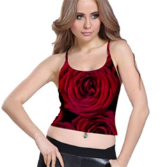 Roses Flowers Red Forest Bloom Spaghetti Strap Bra Top