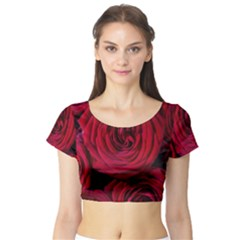 Roses Flowers Red Forest Bloom Short Sleeve Crop Top (tight Fit)