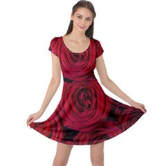 Roses Flowers Red Forest Bloom Cap Sleeve Dresses