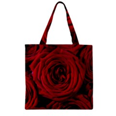 Roses Flowers Red Forest Bloom Zipper Grocery Tote Bag
