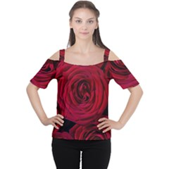 Roses Flowers Red Forest Bloom Women s Cutout Shoulder Tee