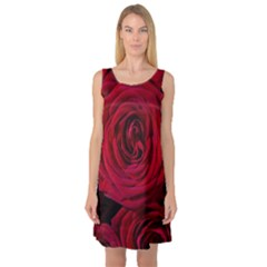 Roses Flowers Red Forest Bloom Sleeveless Satin Nightdress