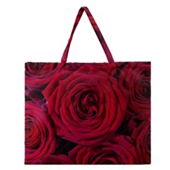 Roses Flowers Red Forest Bloom Zipper Large Tote Bag